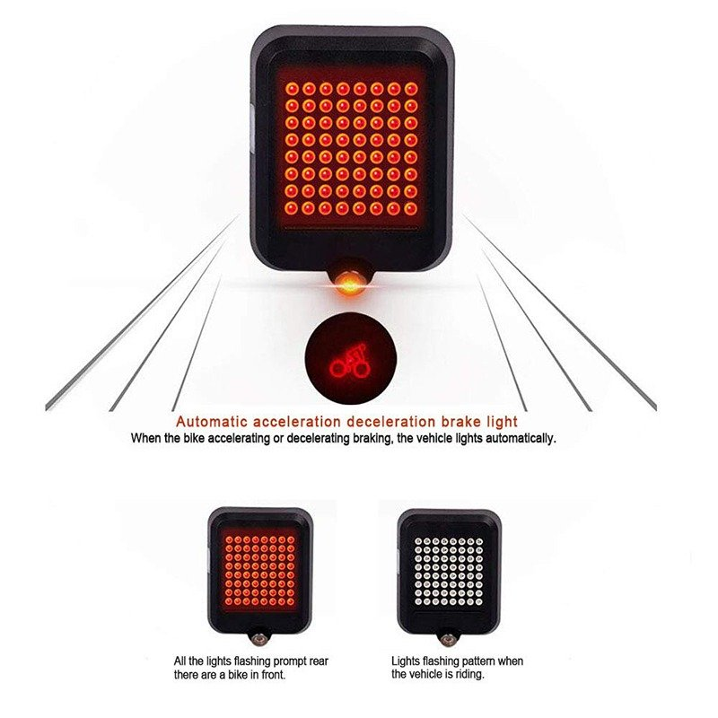 Rechargeable Bike Tail Light,80 Lumens 64 LED Light Beads Bicycle Turn Signal Lights