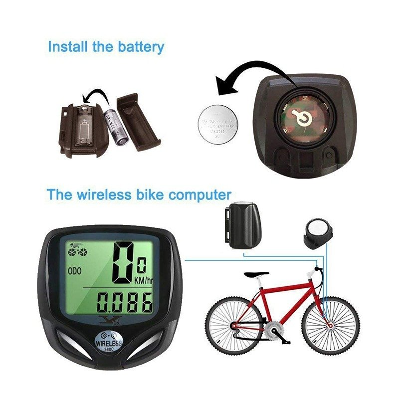 SY Bicycle Speedometer and Odometer Wireless Waterproof Cycle Bike Computer with LCD Display
