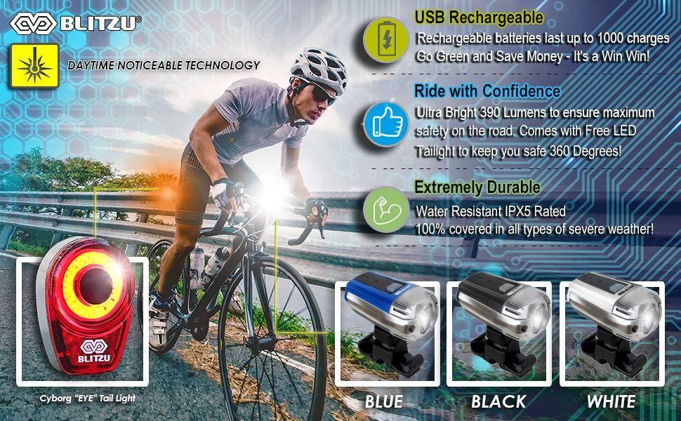 usb rechargeable led bike light set