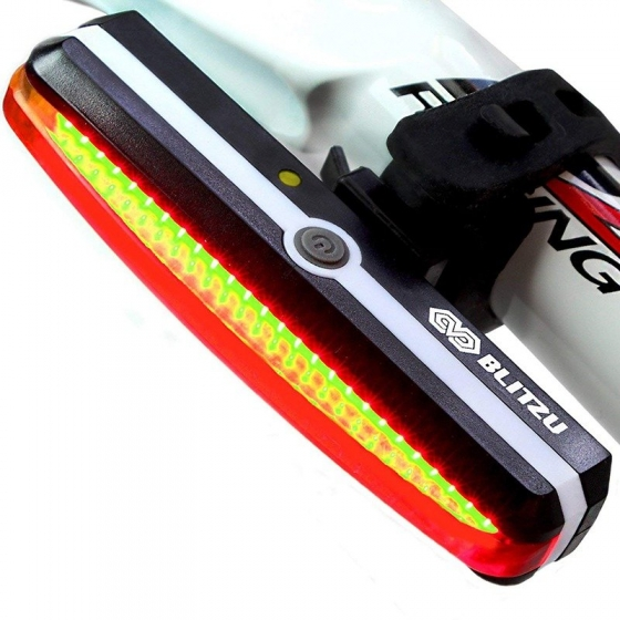 Ultra Bright Bike Light Blitzu Cyborg 168T USB Rechargeable Bicycle Tail Light
